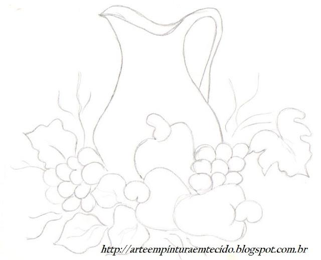 pintura em tecido risco pano de prato frutas