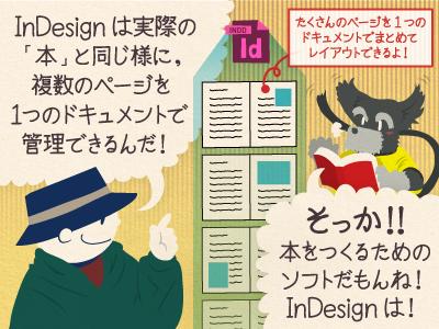 チップ君「InDesignは実際の「本」と同じ様に、複数のページを1つのドキュメントで管理できるんだ!」ジミー「そっか!! 本をつくるためのソフトだもんね!InDesignは!」