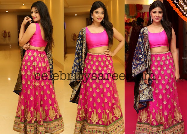 Pink Lehenga with Gold printed Flowers