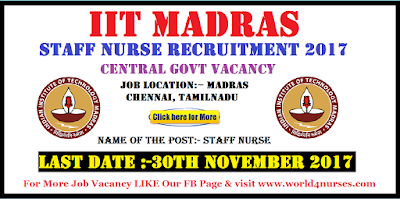 IIT Madras Recruitment Central Govt Staff Nurse Vacancy