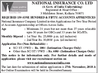 NICL-Accounts-Apprentice-Recruitment Exam-2018-Notification-National Insurance Recruitment