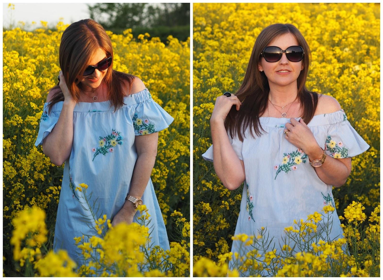 New Look off the shoulder dress \ bardot \ fashion \ style \ styleblog \ Priceless Life of Mine \ Over 40 lifestyle blog