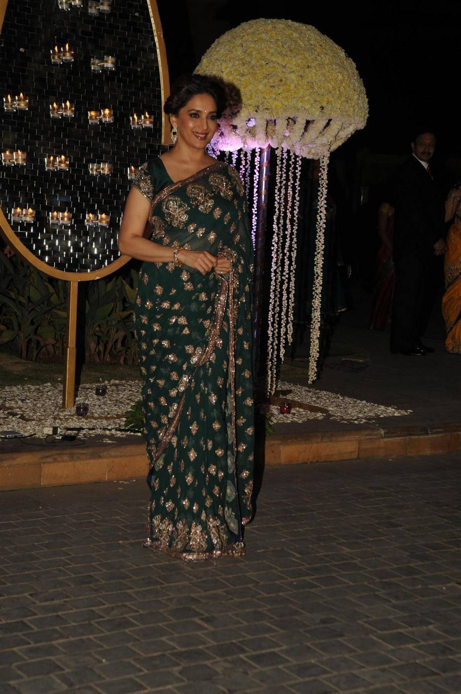 Glamours Bollywood Actress Madhuri Dixit Latest Stills In Green Saree