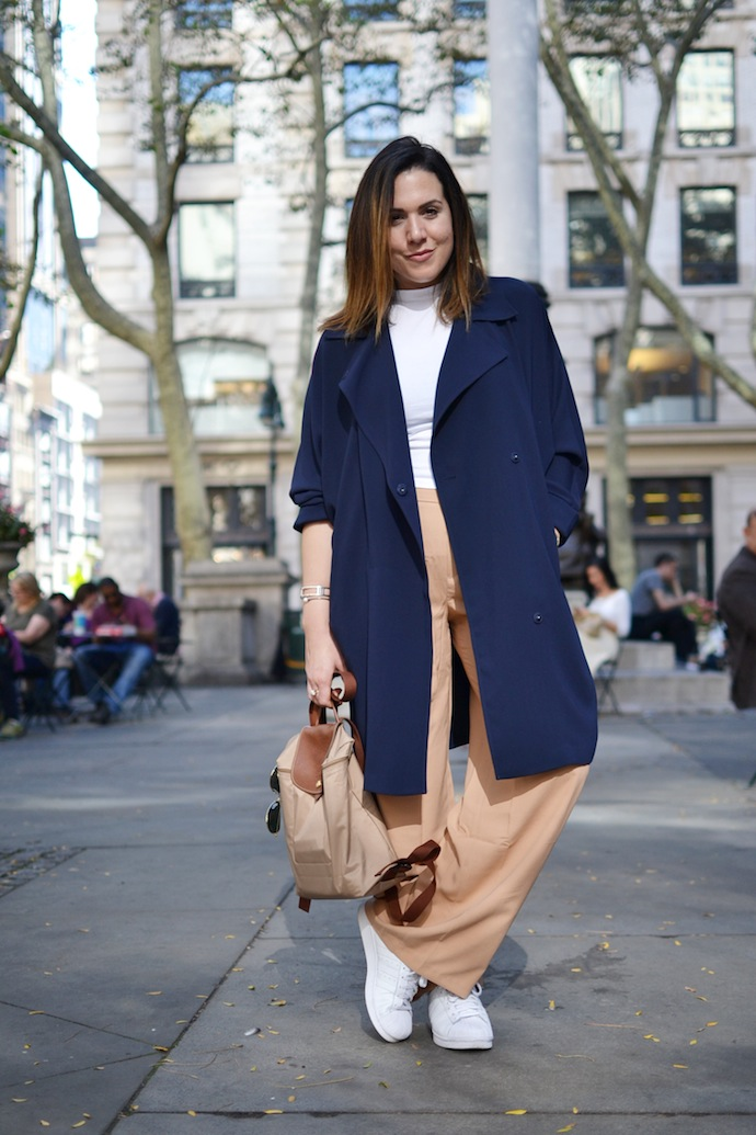 Forever 21 duster trench coat navy wide-leg trousers outfit fashion blogger