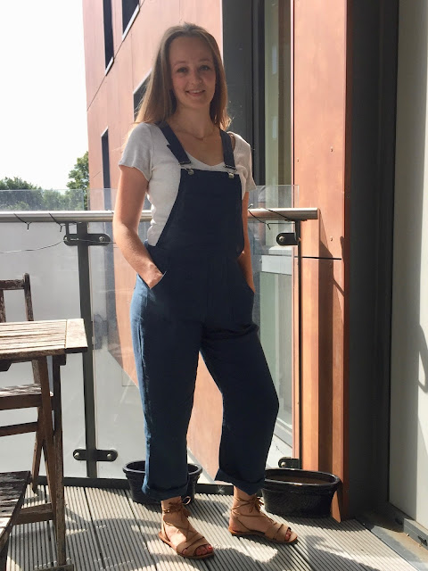 Teal Linen Turia Dungarees