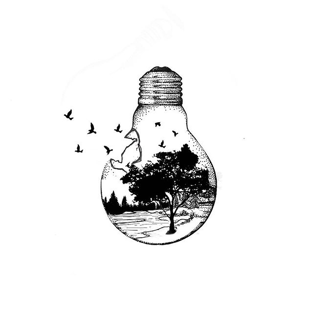 earth beautiful bulb shape tattoo design ideas