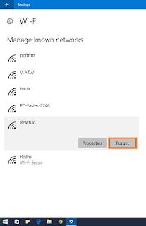 Melakukan Forget Network