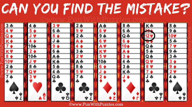 Answer of Find the Mistake: Gypsy Solitaire Card Game Picture Puzzle
