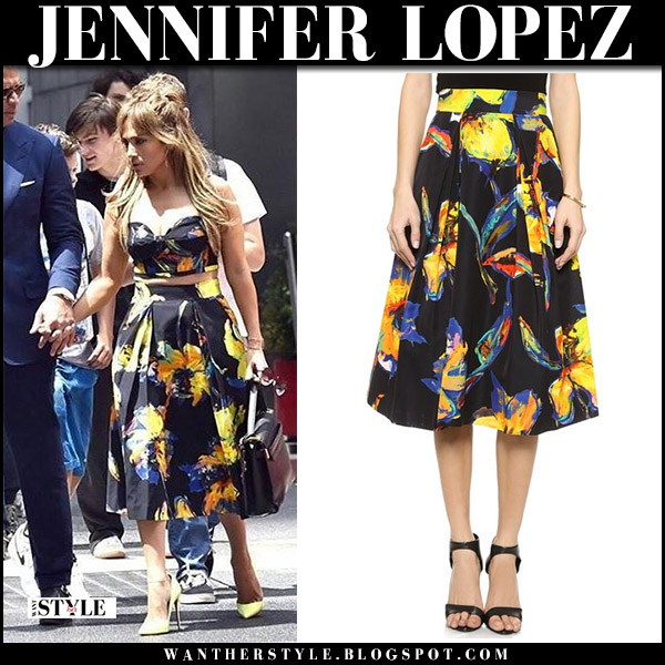 Jennifer Lopez in black yellow floral print top and skirt milly pop art celebrities in bustier tops august 11 2017