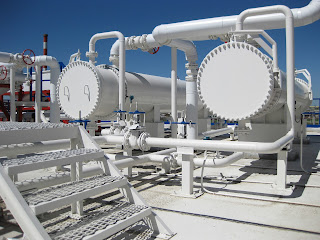 two shell and tube heat exchangers in industrial plant