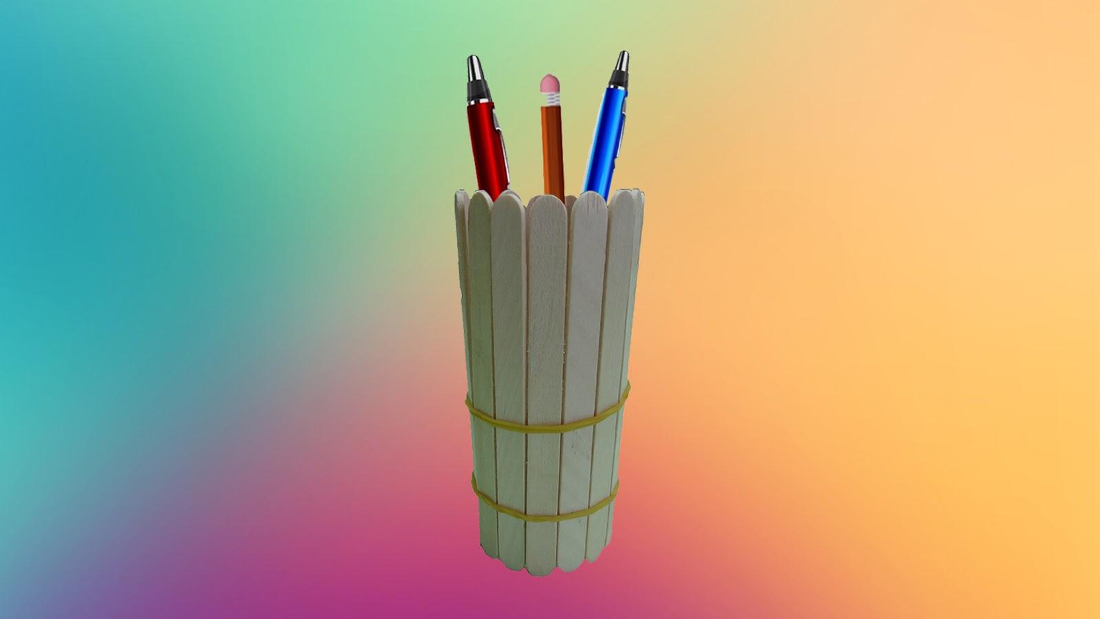 Diy Lab Popsicle Stick Crafts Popsicle Pen Holder Pen Holder