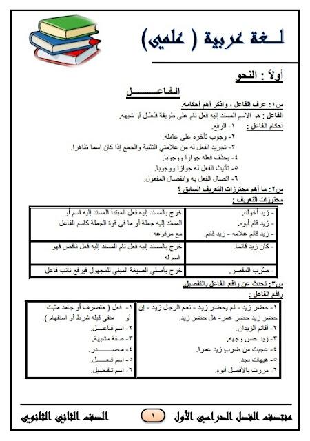 المراجعة النهائية في اللغة العربية علمي للصف الثاني الثانوي