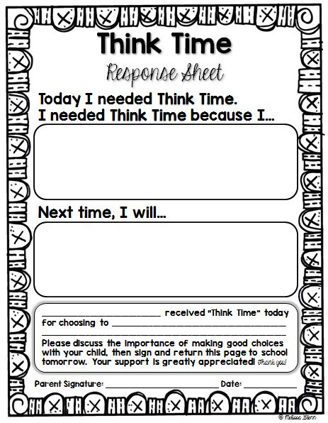 Real Life in First Grade Helping Kids Make Better Choices Think Time