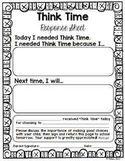 Think Time Response Sheet for Kindergarten