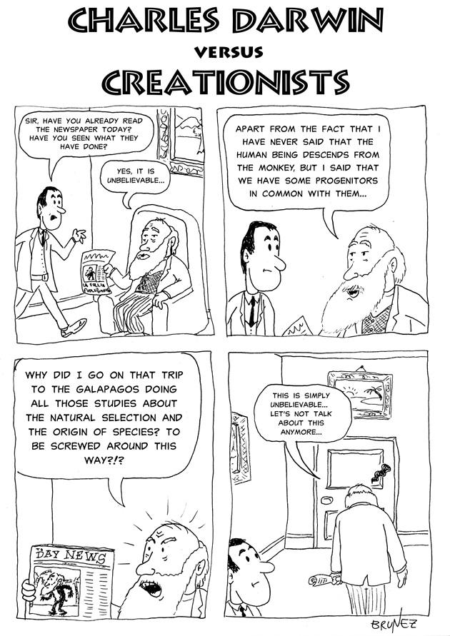 Brunez Comics: Charles Darwin vs. Creationists