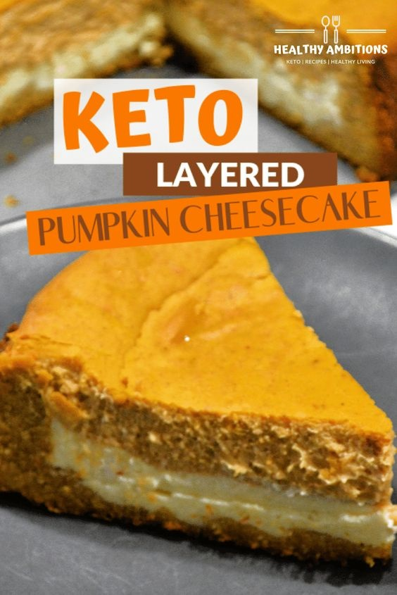 Keto-Approved Layered Pumpkin Cheesecake with a Cookie Crust