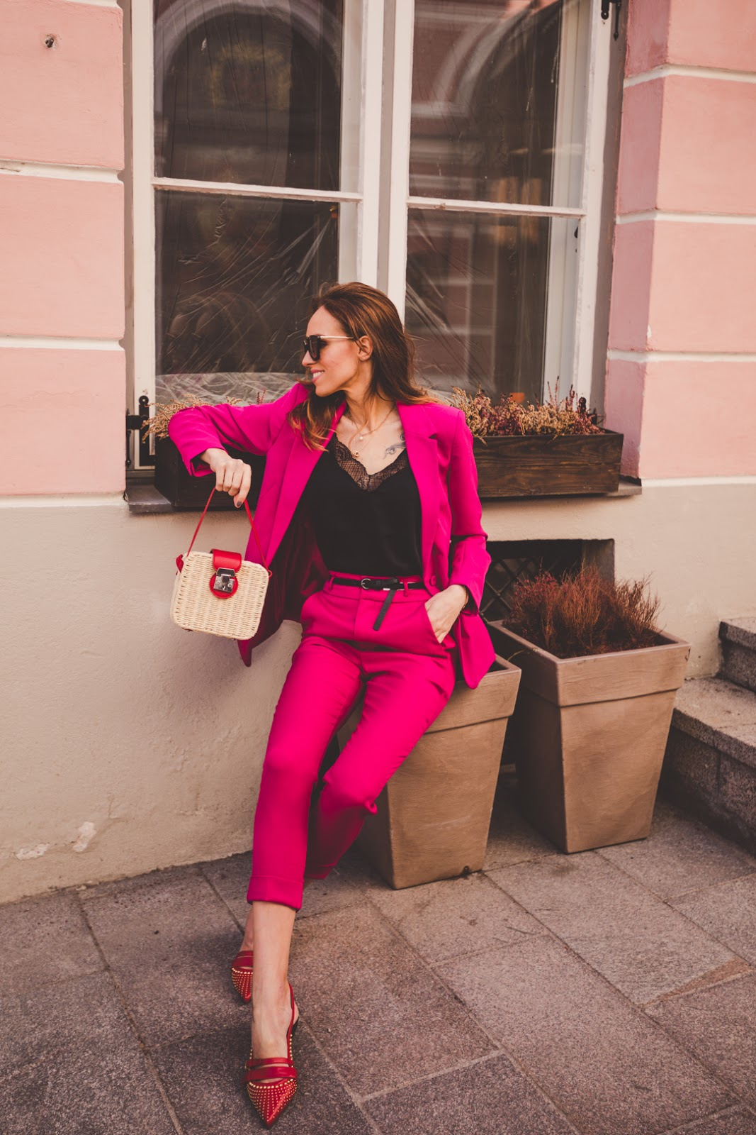 pink suit red straw bag outfit spring