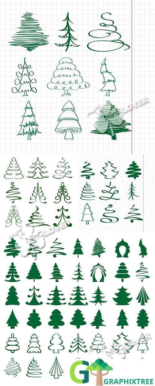 Vector Christmas trees sketch 0518