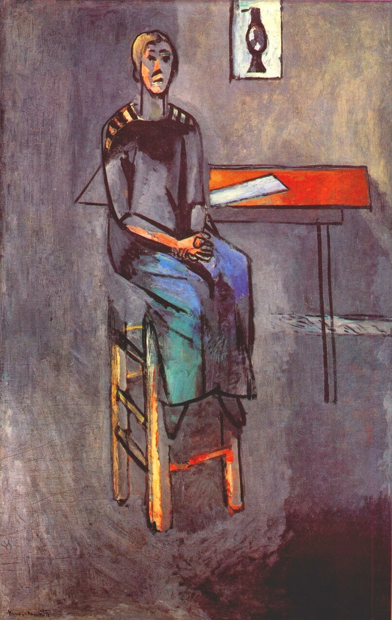 Mulher em um Banco  Alto - Pinturas de Matisse, Henri - (Fauvismo) Francês