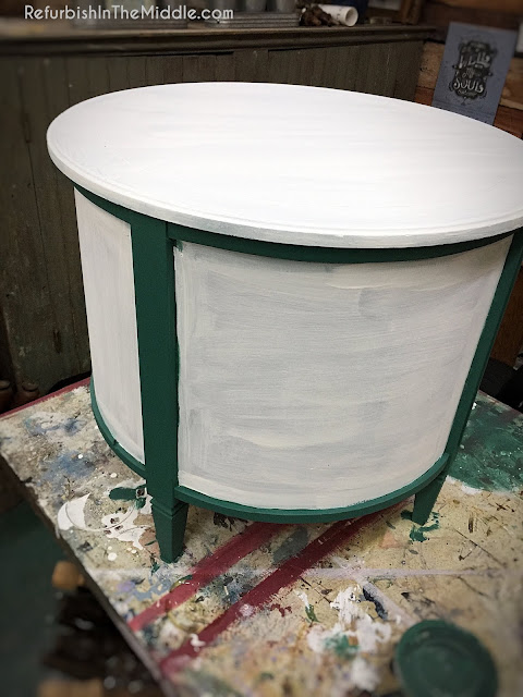 70's vintage round drum table with fresh application of chalk paint