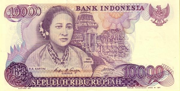 10 ribu rupiah 1985 depan