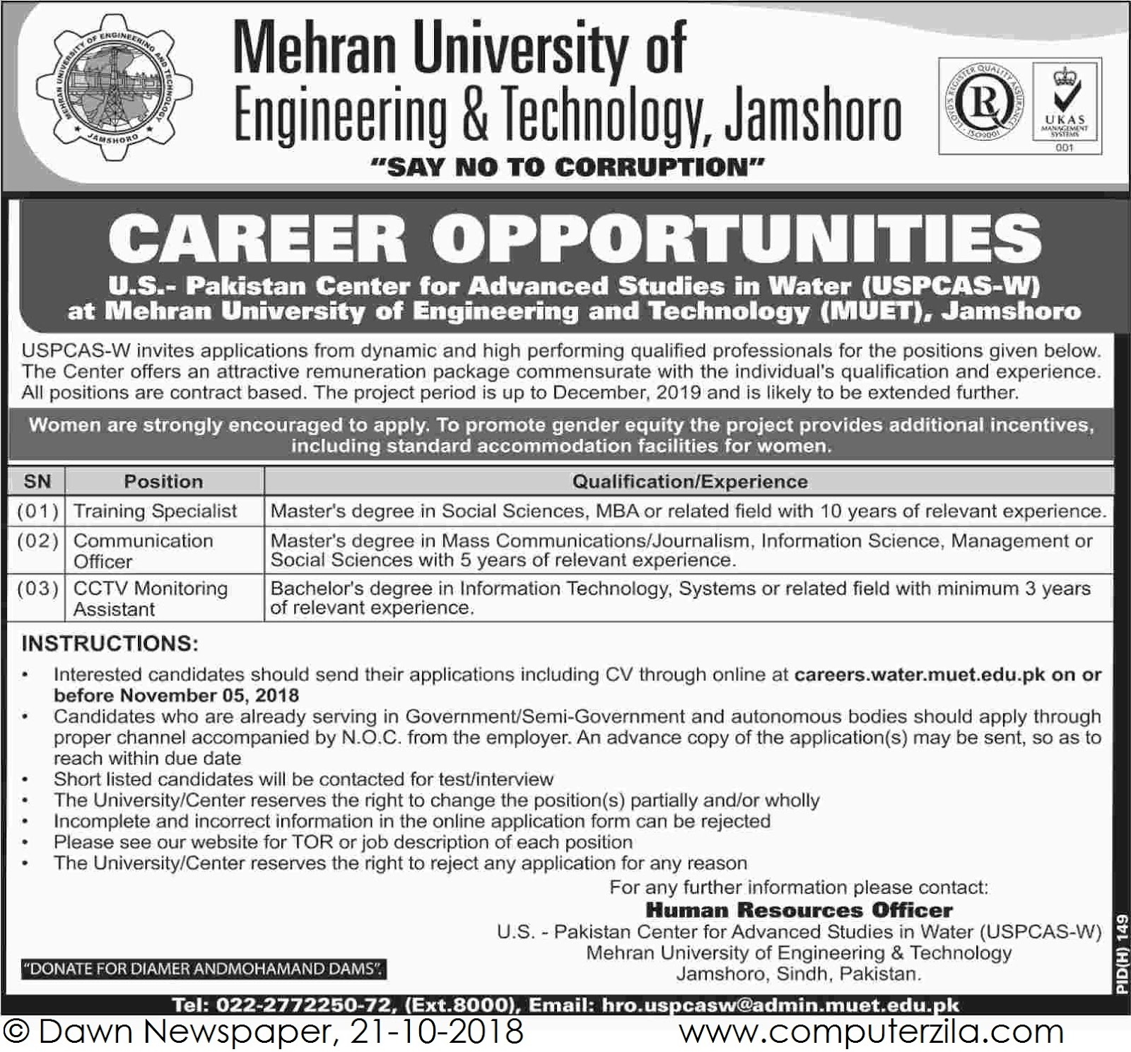Career Opportunities at Mehran University of Engineering & Technology, Jamshoro