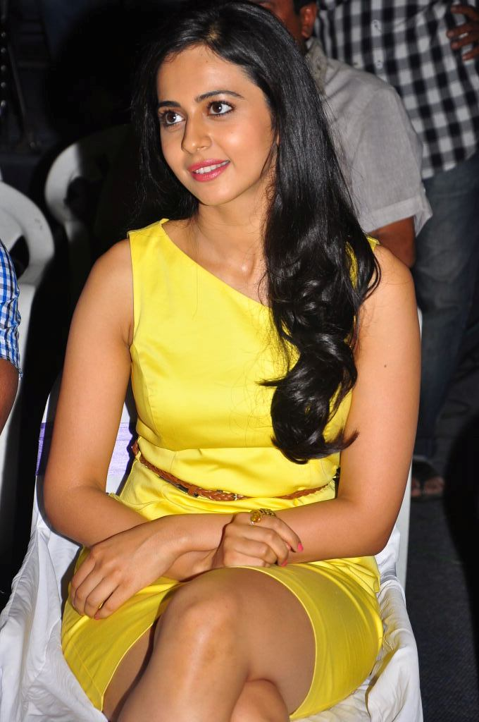 Rakul Preet Thigh Show Photos In Yellow Dress