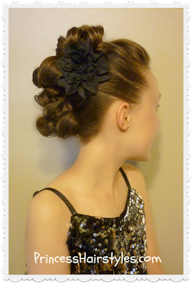 Messy bun faux hawk for long hair. Dance hairstyle tutorial.