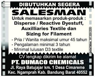 Lowongan Kerja PT. Dumaco Chemicals Bandung