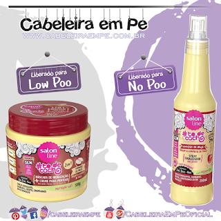 Spray Finalizador Brilhow (No Poo) e Máscara (Low Poo) Vinagre de Maçã Tô de Cacho - Salon Line