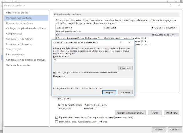 Word, Excel, Power Point Detectó un error al internar abrir este archivo