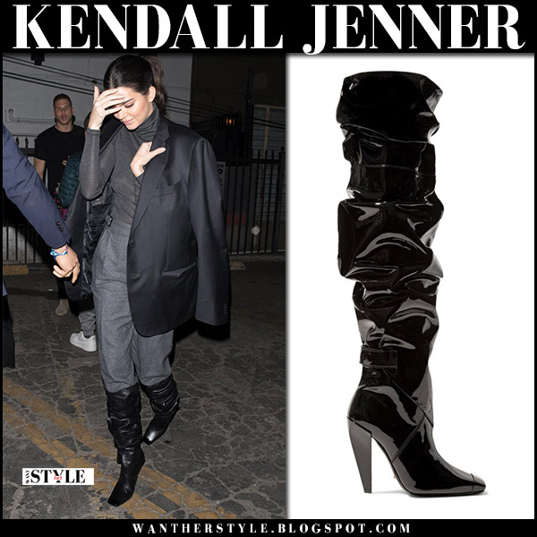 Kendall Jenner in black leather slouchy knee boots tom ford street fashion december 7