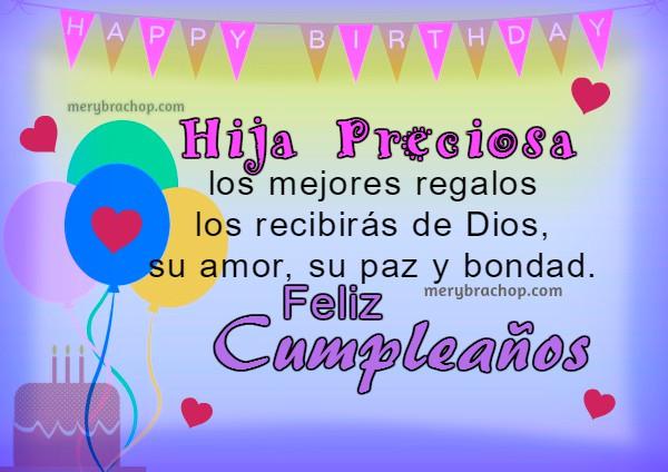 Imágenes, tarjetas de cumpleaños para Hija con mensajes cristianos por Mery Bracho.