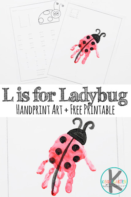 FREE Letter L Worksheets & L is for Ladybug Hand Art craft for kids in preschool, prek, kindergarten, and first grade