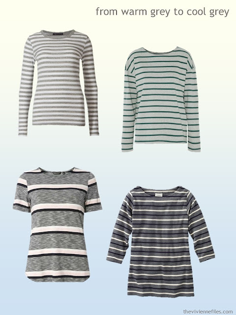 grey striped tops from warm grey to cool grey