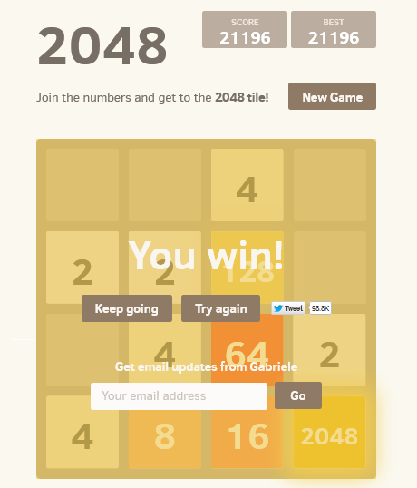 2048 tile game win