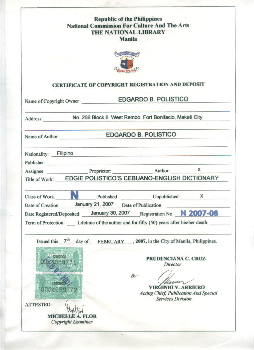 Philippines illustrated reminiscing the moments gone by the certificate of copyright registration and deposit in the the national library in manila xflitez Images
