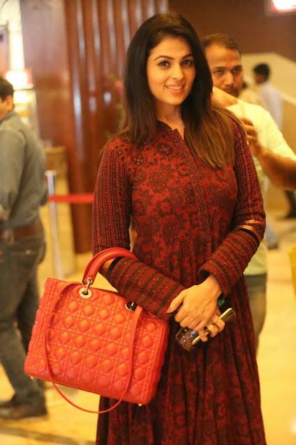 Anjana Sukhani in Maroon Printed Anarkali