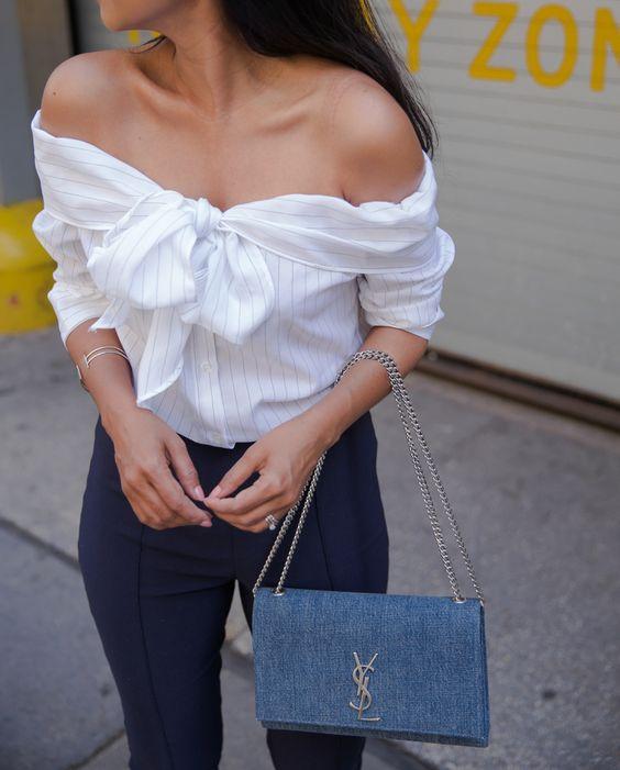 Off Shoulder Pinstripe Bow Top + Saint Laurent Blue Denim Bag