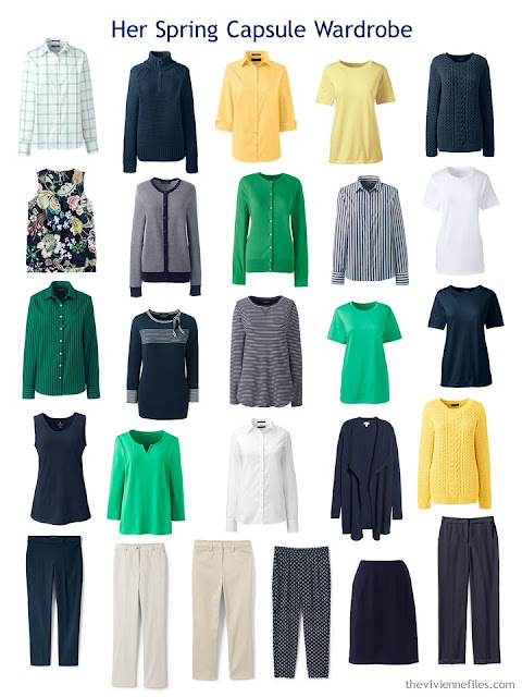 a Spring Capsule wardrobe in navy and white with beige, yellow and green