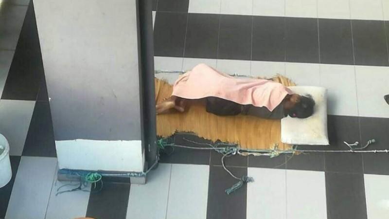 Adelina Lisao tidur di beranda rumah di Taman Kota Permai, Penang
