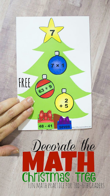 FREE Decorate the Math Christmas Trees - super clever and FUN activities for Christmas math practice for 3rd grade, 4th grade, 5th grade and 6th grade. This is WAY more fun than math worksheets to review at home, math centers, homeschool, and more as they review  division, multiplication, addition, and subtraction.