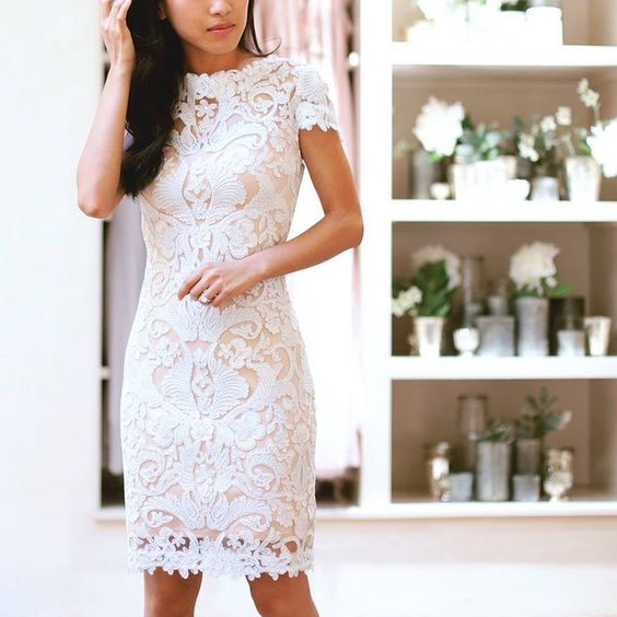 White ElegentShort  Lace Dress