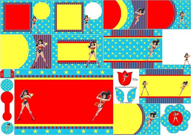 Mujer Maravilla: Invitaciones  para Imprimir Gratis.