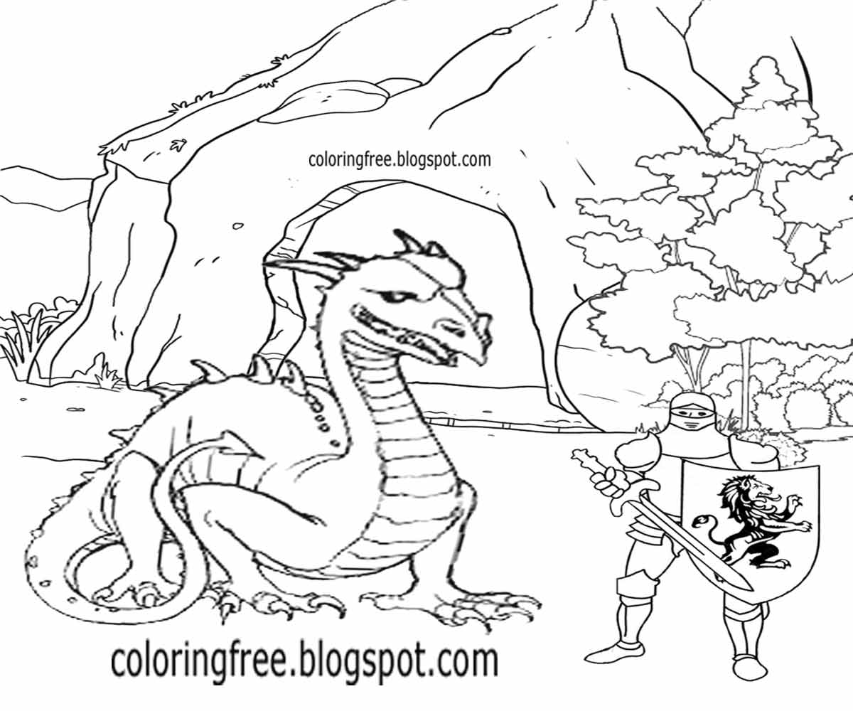 medieval printable cartoon dragon cave royal king arthur easy knight coloring pages for old children - Knight Coloring Pages 2