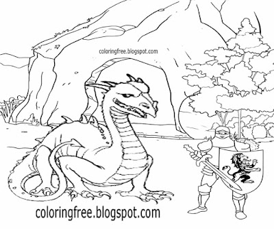 Medieval printable cartoon dragon cave royal king Arthur easy knight coloring pages for old children