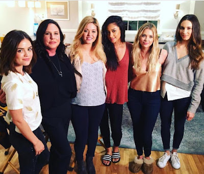 PLL 7x16 bts cast announce show ending after season 7, Lucy Hale,Ashley Benson, Shay Mitchell, Troian Bellisario, Marlene King, Sasha Pieterse
