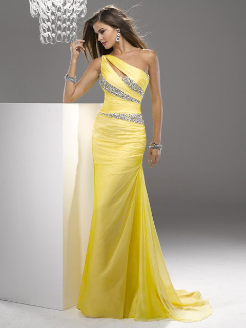 Sheath/Column One Shoulder Sleeveless Sweep/Brush Trainh Chiffon Prom Dress/Evening Dress
