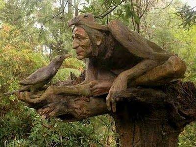 Gốc cây và những tác phẩm điêu khắc đẹp.