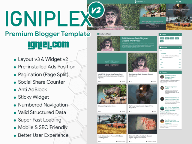 Igniplex - Premium Blogger Template for Better User Experience